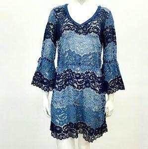 Calypso St. Barth Color Block Fringe Lace Dress
